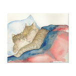 Cuddling Mother and baby kitten Art Stretched Canvas Prints