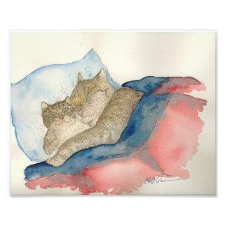 Cuddling Mother and baby kitten Art Print
