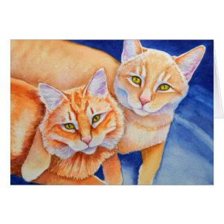 Cuddling Orange Tabby Cats Card