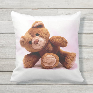 Cuddly Brown Teddy Bear Throw Pillow