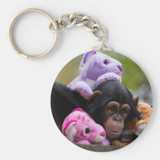 Cuddly Chimp & Friends Basic Round Button Keychain