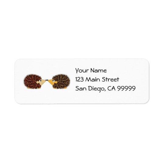 Cuddly Hedgehog Couple Return Address Label