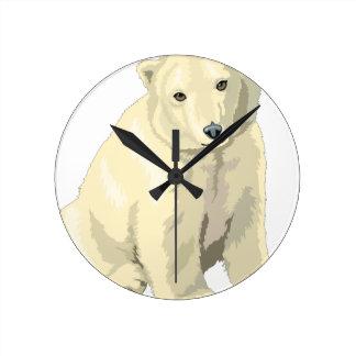 Cuddly  Polar Bear Round Clock