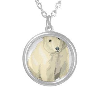 Cuddly  Polar Bear Silver Plated Necklace