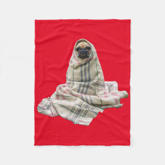 Cuddly Pug in a Blanket Custom Background Color