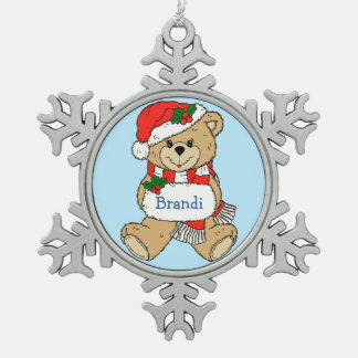 Cuddly Teddy Bear Personalized Christmas Pewter Snowflake Ornament