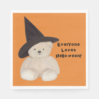 Cuddly Teddy Bear Wearing a Black Witch Hat Disposable Napkin