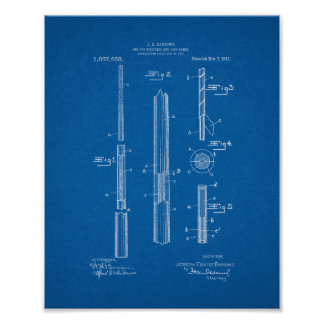 Cue For Billiards And Like Games Patent - Blueprin Poster
