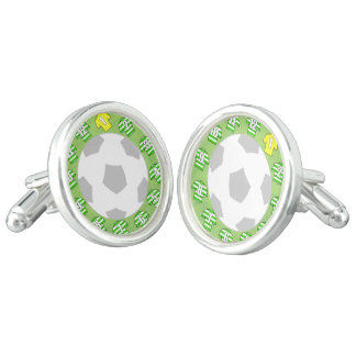 Cuff-links with Green & White Hooped Shirts Cuff Links