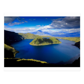 Cuicocha crater lake and island, Ecuador Andes Postcard