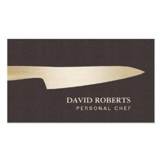 Cuir de Brown foncé de couteau de chef d'or de Carte De Visite Standard