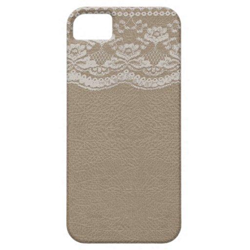 Cuir et mariage de dentelle étui iPhone 5