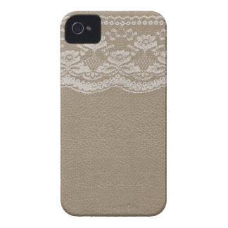 Cuir et mariage de dentelle coques iPhone 4 Case-Mate