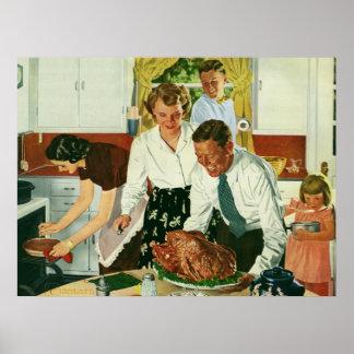 Cuisine vintage de dîner de thanksgiving de