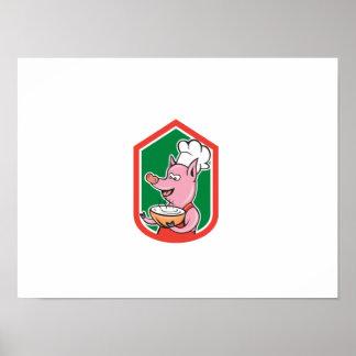 Cuisinier de chef de porc tenant la bande dessinée affiche