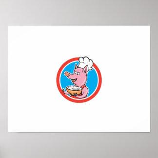 Cuisinier de chef de porc tenant la bande dessinée affiches