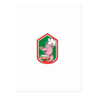 Cuisinier de chef de porc tenant la bande dessinée cartes postales