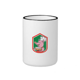Cuisinier de chef de porc tenant la bande dessinée mug