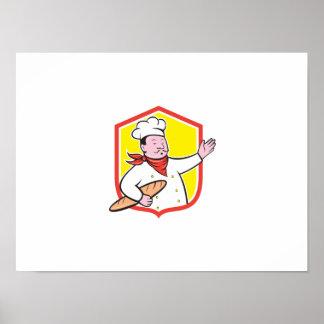 Cuisinier de chef tenant la bande dessinée de posters