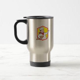Cuisinier de chef tenant la bande dessinée de mug à café