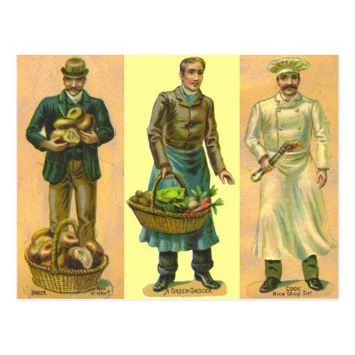 Cuisinier vintage d'épicier de Baker Cartes Postales