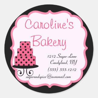 Cuisson et boutique de boulangerie, noir et rose sticker rond