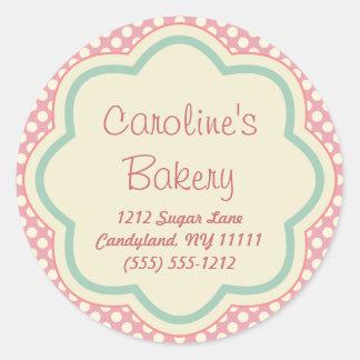 Cuisson et boutique de boulangerie, point de polka autocollant rond