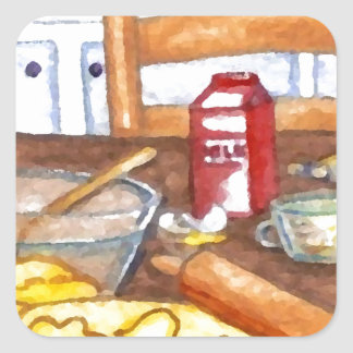 Cuisson heureuse de cuisine familiale de cuisine sticker carré