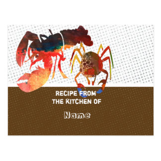 Culinary Cute Crab and Lobster  Recipe Cards