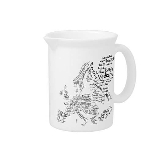Culinary Food Map of Europe for Foodies Pitcher