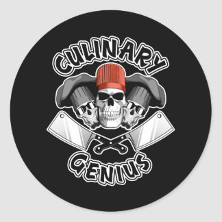 Culinary Genius: Butcher Skulls v3 Round Sticker