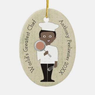 Culinary grad African American Christmas ornament