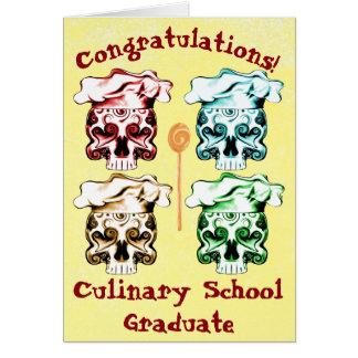 Culinary School Graduate Chef Skulls Card