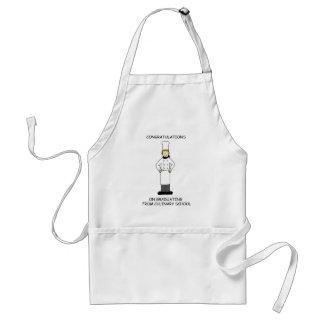 Culinary school lady graduate, congratulations. standard apron