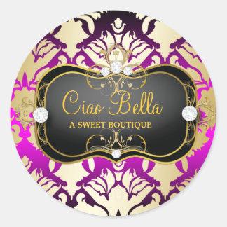 Culot de rose de Ciao Bella de 311 noirs de jais Sticker Rond