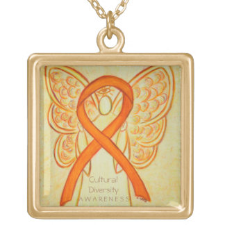 Cultural Diversity Awareness Ribbon Angel Necklace