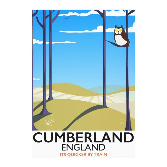 Cumberland, England vintage style travel poster. Canvas Print