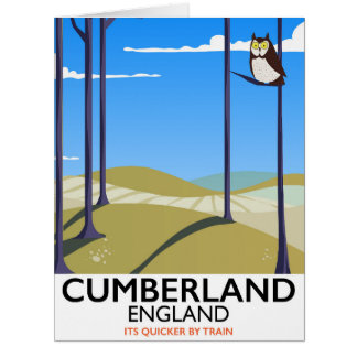 Cumberland, England vintage style travel poster. Card