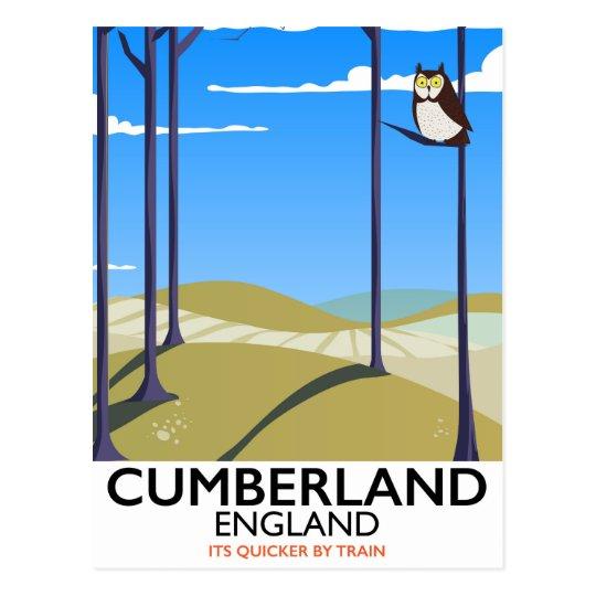 Cumberland, England vintage style travel poster. Postcard