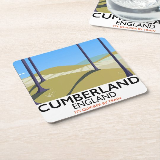 Cumberland, England vintage style travel poster. Square Paper Coaster