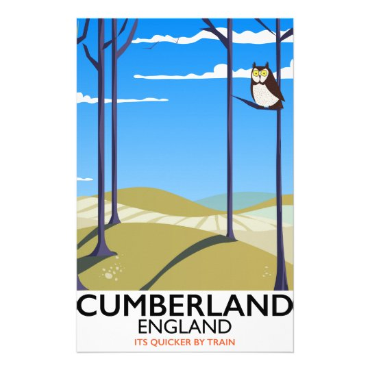 Cumberland, England vintage style travel poster. Stationery