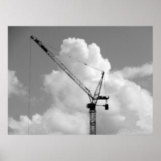 Cumulonimbus Crane - Black and White Poster
