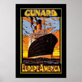 Cunard Europe-Amérique Affiche