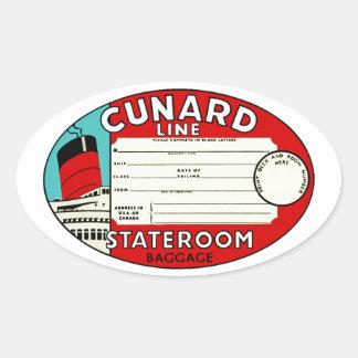 Cunard Line Luggage Label Oval Sticker