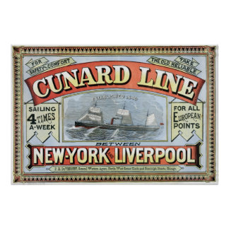 Cunard Line New York-Liverpool Vintage Poster