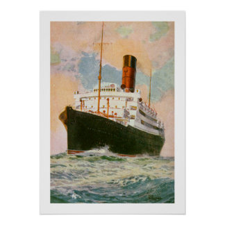 Cunard Liner Ascania at Sea Poster