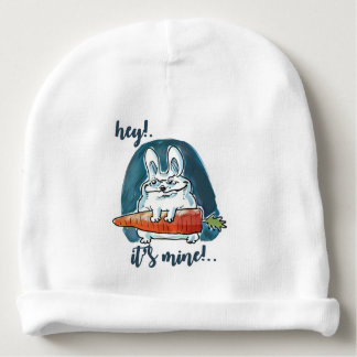 cunning rabbit holds carrot funny cartoon baby beanie