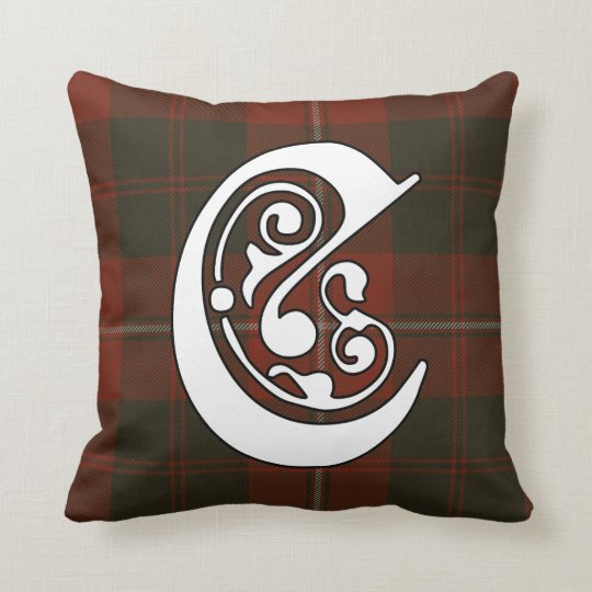 Cunningham Clan Tartan Monogram Throw Pillow