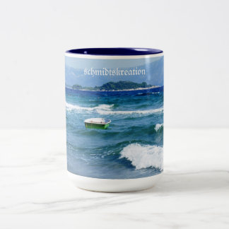 Cup, cafe cup, cappuccino, vacation, sea, Two-Tone coffee mug