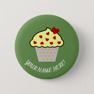 Cup Cake and Hearts 2 Inch Round Button